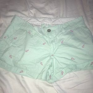 Teal shorts with pink anchors